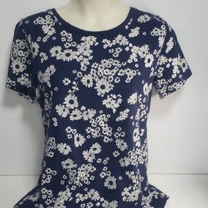 Old Navy Relaxed Blue and White Flowered T Shirt